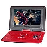 Koolertron Nuovo lettore DVD portatile di alta qualità da 10.2 pollici con supporto girevole 180 ° + USB + SD (Rosso)