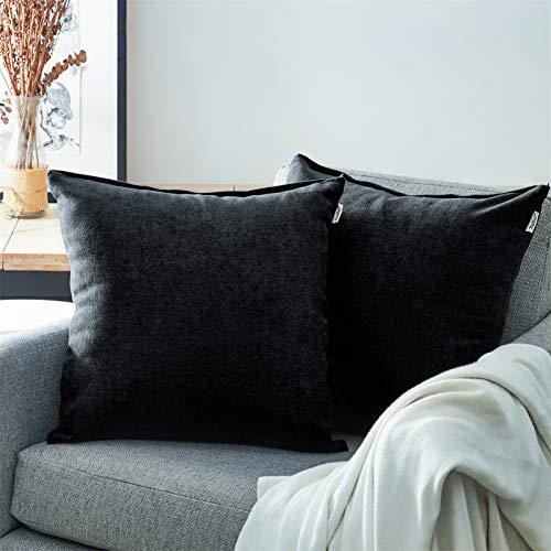 Topfinel Juego 2 Fundas Cojines Cama Sofas de Chenilla Algodón Lino Duradero Almohadas Decorativa de Color sólido para Sala de Estar, sofás, Camas, sillas Dormitorio Jardín Coche 60x60cm Negro