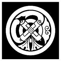 カッティングステッカー 家紋257 丸に祇園守 20cm (白)