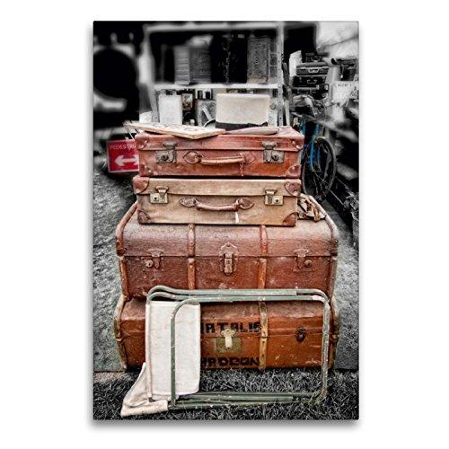 CALVENDO Premium Textil-Leinwand 60 x 90 cm Hoch-Format Alte Koffer, Leinwanddruck von ppicture - Petra Voß