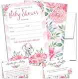Elephant Floral - Baby Shower Invitations Girl Pink Roses, with Envelopes and Diaper Raffle Tickets. Set of 25 Floral Fill in The Blank Style Invites - Pink Floral Baby Shower Invitations Girl