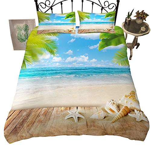 Kids Teens Bedding Set Queen Size Starfish Decor Duvet Cover Hawaii Vacation Theme Bedding Soft Duvet Cover Beach Printed Comforter Cover Sea Star Shell Simple Style Quilt Cover for Adult Girls Boys