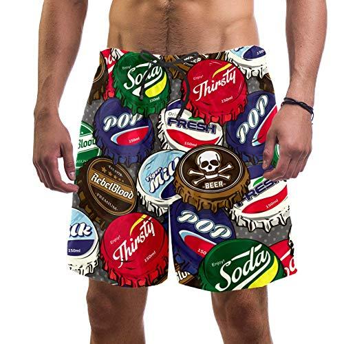 Tapón de Botella de Cerveza Bañador de Hombre Secado Rápido Traje de Baño 3D impresión Pantalones de Baño con Cordón para Natación Surf XXL
