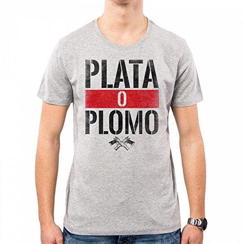 PACDESIGN Camiseta Hombre Narcos Serie TV Plomo O Plata Pablo Escobar Anni 80 80s Pd0018a
