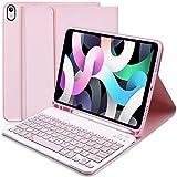 Tastatur Hülle für iPad Air 4. Generation (2020, 10.9), Schlankes Smart Cover mit Abnehmbarer Bluetooth Tastatur für iPad Air 4 Gen 10.9 2020 / iPad Pro 11 2018 (Pink)