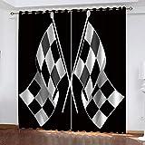 Ageeseso® Cortina Aislante para Dormitorio 3D Bandera a Cuadros en Blanco y...