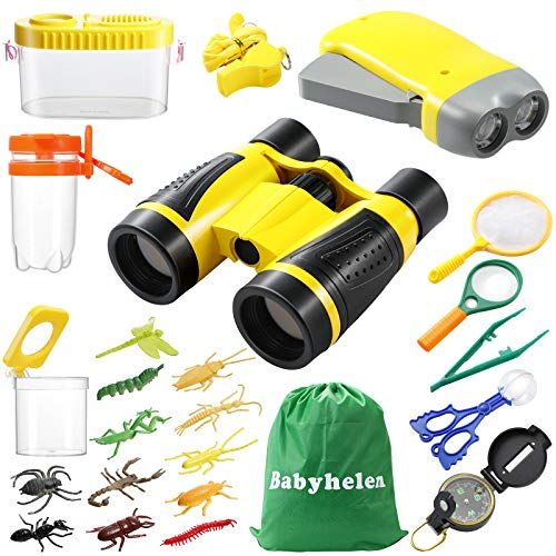 Babyhelen Fernglas Kinder, Draussen Forscherset für Kinder 24 Stück Spielzeug Set mit Bug Catcher Pinzette Insect Viewer Kompass Lupe & Schmetterlingsnetz für Camping und Outdoor-Sport