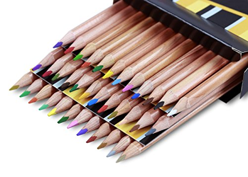 Solabela Triangular Cedar Wood Colored Pencils - Set of 36. Premium Quality Artist Set