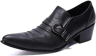 YOWAX Zapatos de Cuero Zapatos de Moda Zapatos de Vestir Negro Camisetas Punk Martin Personalizada Occidental del Cantante...