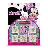 Multiprint Blister 5 Timbres Enfants Disney Minnie Topolina, 100% Made in Italy, Tampons Enfants Personnalisés, en Bois et Caoutchouc Naturel, Encre Lavable Non Toxique, Idée Cadeau, Art.05866