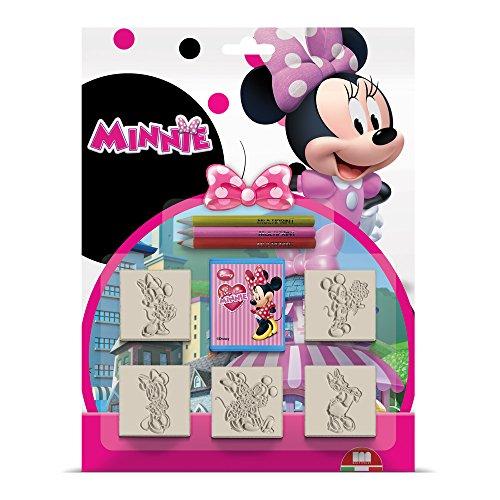 Multiprint Blister 5 Sellos para Niños Disney Minnie Topolina, 100% Made in Italy, Sellos Personalizados para Niños, en Madera y Caucho Natural, Tinta Lavable no Tóxica, Idea de Regalo, Art.05866