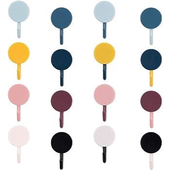 40 piezas Ganchos adhesivos de pared,ganchos de pared ganchos autoadhesivos gancho adhesivo de forma redonda colorida gancho de plástico impermeable, ganchos multifuncionales para cocina, baño