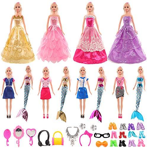 Miunana 62 Accesorios Seleccionados Al Azar para Barbie: 4 Vestidos de Moda + 4 Vestidos De Novia + 4 Ropas Sirena + 10 PCS Zapatos + 40 Accesorios (Producto Sin incluir Las muñecas)