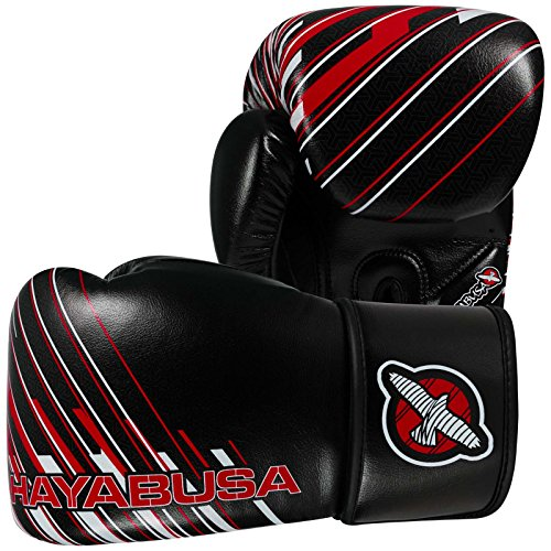 Hayabusa suvia cargado guantes - negro & rojo 10oz