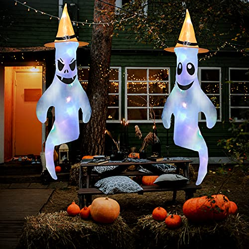 Colminsen 43″ 2021 Halloween Ghost Windsocks with Witch Hat LED Light Hanging Decorations – Flag Wind Socks for Home Yard Outdoor Decor Party Supplies (2 Pieces)