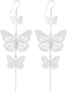 Xuanhemen 1 Pair Charming Women Butterfly Dangle Earrings Girl Wedding Hollow Long Tassels Drop Ear Rings Lady Jewelry