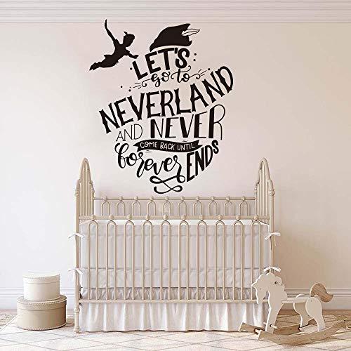 Peter Pan laat gaan naar Neverland Quote muursticker kinderen kamer inspirerende citaat Tinkerbell muur Sticker Kids kamer Vinyl Art 68X56CM