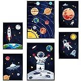Frechdax® Kinder Bilder Kinderzimmer Deko Poster Astronaut