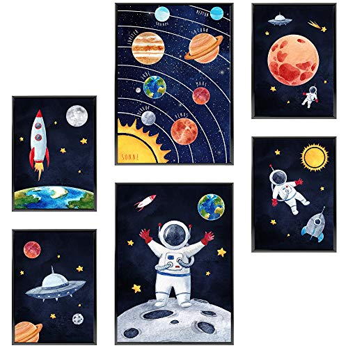 Frechdax® Kinder Bilder Kinderzimmer Deko Poster Astronaut   2 x DIN A3 & 4 x DIN A4 - ca. 30x42 & 21x30   ohne Bilderrahmen (» Astronauten, Planeten, Rakete, Weltall «)