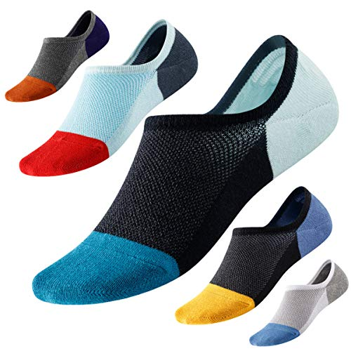 No Show Socks with Non-Slip Grip for Men&Women- Invisible Socks with Breathable Cotton for Sneakers 5Pairs Size 7-11 Hicomlor