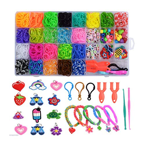 Colorful Loom Bands Set 1500+ Premium Loom Bands for Girls Bracelet Making Kit DIY Rubber Bands Refill Kit Make Your Own Bracelets Great Kid Creativity DIY Gift with Detailed Instructions