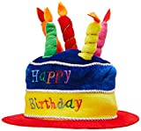 Beistle Plush Fabric Novelty Happy Birthday Cake Hat with Candles – Adult Size Unisex Photo Booth...