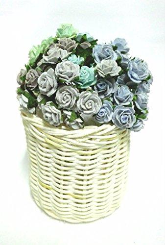 GRC[TM] 60 Mix Color 20 mm Artificial Mulberry Paper Rose Flower Wedding Scrapbooking Card Diy Craft Handmade Valentines Anniversary Embellishment