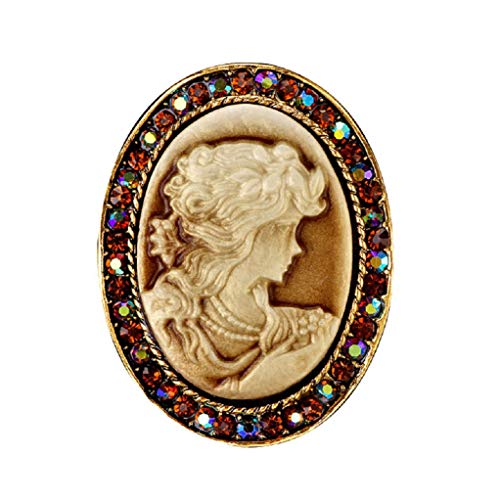 DGQY Vintage Cameo Rhinestone Brooch Pin for Women Ladies Jewellery