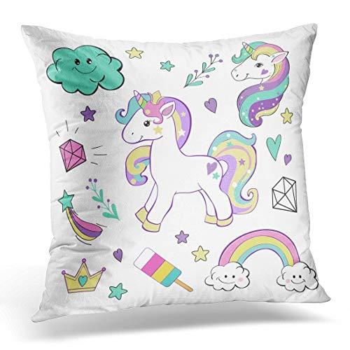 JOOCAR Funda de almohada de 50 x 50 cm, diseño de unicornio con cabeza rosada, diseño de unicornio, color blanco y blanco