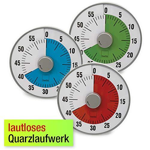 """TimeTEX Zeitdauer-Uhr\""""lautlos\"""" rot - magnetisch - Durchmesser 19 cm, mit roter Scheibe - 61920"""
