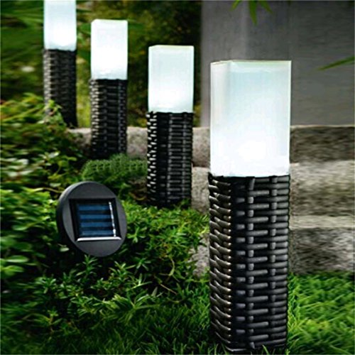 Sogrand Rattan Hand-Woven Solar Path Light Set (4 Pack)