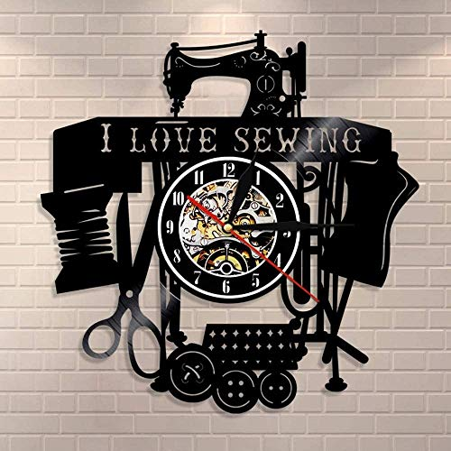 WTTA Me Encanta Coser Citas Arte de la Pared máquina de Coser Vintage Reloj de Pared Disco de Vinilo Reloj de Pared Costura Dormitorio sastrería decoración