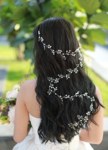 Gracewedding Mariage Cheveux longs Vigne Mariage Cheveux Vigne Mariage vintage Coiffe Cheveux Cristal pièces mariée Bijoux de cheveux cristal Mariage Accessoires Cheveux