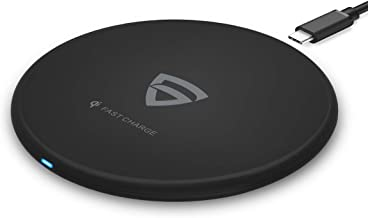 RAEGR Arc 400 Type-C PD Qi-Certified 10W/7.5W Fast Wireless Charger with Fireproof ABS for iPhone 11/11Pro/11Pro Max/Xs/Xs MAX/XR/X/8/8+,Galaxy S20+/Note10/10+/S10/S10+/S10E/Note9/S9-Black