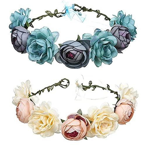 Kytpyi couronne de roses pour cheveux, bandeau couronne de fleurs couronne de fleurs pour cheveux coiffe de guirlande couronne de fleurs rose pour femmes de mariage et fête ( bleu et champagne )