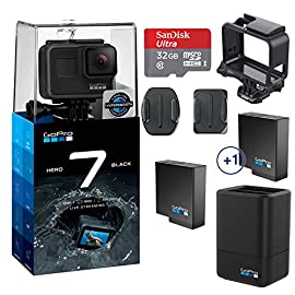 GoPro Hero 7 (Black) Action Camera w/Dual Battery Charger and Extra Battery Bundle 1 This K&M Bundle Includes All Standard GoPro Accessories + Limited 1-Year Warranty GoPro Hero 7 (Black) Action Camera Box Includes: GoPro HERO7 Black, Rechargeable Battery, The Frame for HERO7 Black, Curved Adhesive Mount, Flat Adhesive Mount, Mounting Buckle, USB-C Cable, Limited 1-Year Warranty. GoPro Hero 7 (Black) Action Camera Highlights: 4K60/50, 2.7K120/100 & 1080p240/200, 12MP Still Photos with Selectable HDR, HyperSmooth Video Stabilization, Direct Live Streaming to Facebook Live