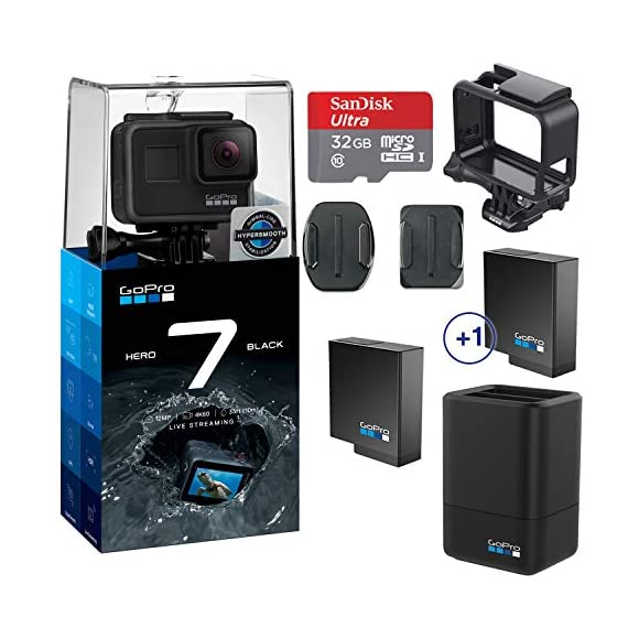 Gopro hero 7 (black) action camera w/dual battery charger and extra battery bundle 1 this k&m bundle includes all standard gopro accessories + limited 1-year warranty gopro hero 7 (black) action camera box includes: gopro hero7 black, rechargeable battery, the frame for hero7 black, curved adhesive mount, flat adhesive mount, mounting buckle, usb-c cable, limited 1-year warranty. Gopro hero 7 (black) action camera highlights: 4k60/50, 2. 7k120/100 & 1080p240/200, 12mp still photos with selectable hdr, hypersmooth video stabilization, direct live streaming to facebook live