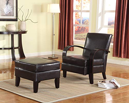 Roundhill Furniture Wonda Bonded Leather Accent Arm Chair with Ottoman, Brown