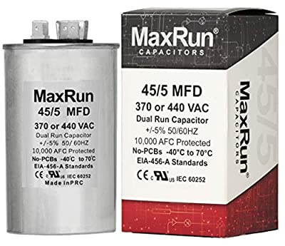 MAXRUN 45+5 MFD uf 370 or 440 Volt VAC Round Dual Run Capacitor for Air Conditioner or Heat Pump Condenser - 45/5 Microfarad - Runs AC Motor and Fan - 5 Year Warranty