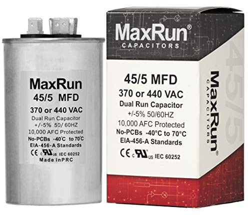 MAXRUN 45+5 MFD uf 370 or 440 Volt VAC Round Dual Run Capacitor for Air Conditioner or Heat Pump Condenser - 45/5 Microfarad - Runs AC Motor and Fan - 5 Year Warranty