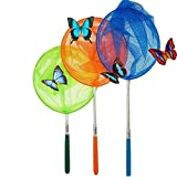 #1 M-jump 3 Pack Colored Telescopic Butterfly Nets - Great for Catching Insects Bugs Fishing - Outdoor Toy for Kids Playing - Extendable from 6.8' to  34'