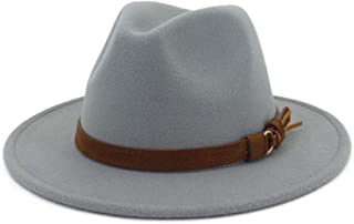 Men & Women Vintage Wide Brim Fedora Hat with Belt Buckle