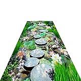 LSMK Teppich Amerikanischer Stil Teppiche Runner mit Rutschfester Gummiunterlage - 3D-Teppich mit Fluss- Und Steinmuster - Blaue und Grüne Fußmattenteppiche Pflegeleicht (Size : 100×800cm)