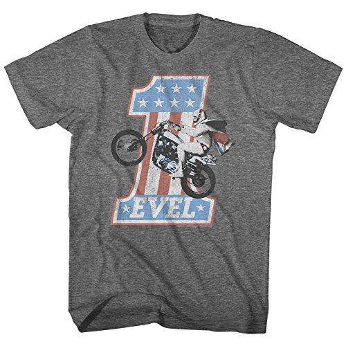 American Classics unisex adult Evel Knievel One Level Short Sleeve T-shirt T Shirt, Gray, X-Large US