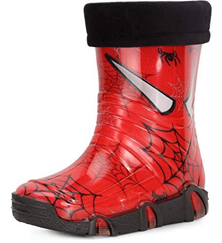 Ladeheid Botas de Agua Zapatos de Seguridad Calzado Unisex Niños Niñas Swk39 (Rojo Arañas 39, 33/34 EU)