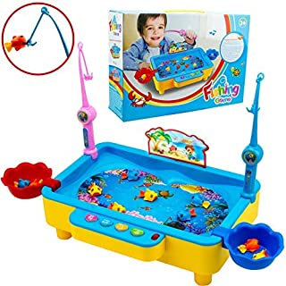 SAKIBO Fishing Game Board Pool Play Set With Sound Music Fish Rods Electromagnetic Learning Educational Toys For Boys Girls Toddlers Kids Aged 3+ [並行輸入品]