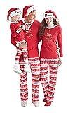 Pigiama Natale Famiglia Due Pezzi Xmas Pantaloni e T-Shirt Lettera Stampati Rossi Vacanza Babbo Manica Lunga Rotondo Collo Top per Mamma Papà Neonato Bambino Pajamas Set Costumi da Notte Sleepwear