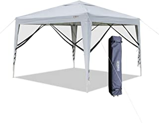 VINGLI 10'x10' EZ Pop Up Canopy Tent w/4 Matching Mesh Removable Wall Panels, Folding Instant Sun Shade Shelter Outdoor Garden Wedding Party Gazebo Canopy,W/Roller Carry Bag White