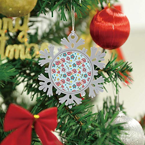 SUPNON Christmas Hanging Snowflake Ornament - Cute Seamless Pattern of Balls of Yarn, Merry Christmas Cute Xmas Tree Hanging Decoration - Circle Ceramic Holiday Family & Friends Gift SW31019,1 PCS