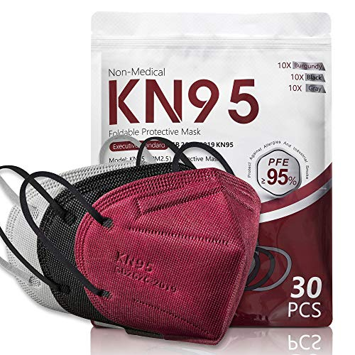 30 Pack KN95 Disposable Face Mask, 5-Ply Protection Breathable Cup Dust Masks, Protection Against PM2.5 Dust. Pollen. Haze-Proof with Elastic Earloop and Nose Bridge Clip(10 Black,10 Gray,10 Burgundy)